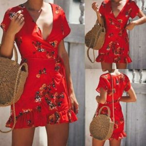 Express red tropical floral romper with skort